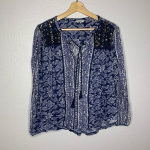 Lucky Brand Tops - Lucky Brand Beaded blue white Peasant Top